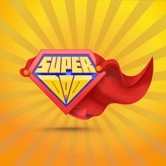 Super tata. logo superdad. koncepcja dzień ojca. ojciec superbohatera. komiczny styl.
