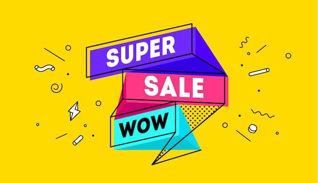 Super wyprzedaż. 3d sprzedaż banner z tekstem super sprzedaż emocji, motywacji. nowoczesny kolorowy szablon sieci web 3d na czarnym tle.