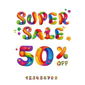 Super wyprzedaż 50% zniżki na napisy na plakat, ulotki i inne reklamy z okazji czarnego piątku.