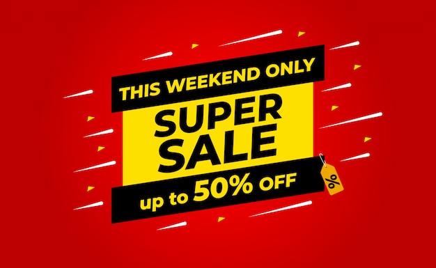 Super wyprzedaż do 50% zniżki na banner. w przypadku promocji sprzedaży, baner, zniżka.