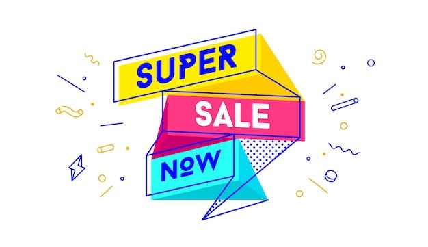 Super wyprzedaż. sprzedaż banner z tekstem super sprzedaż na emocje, motywację