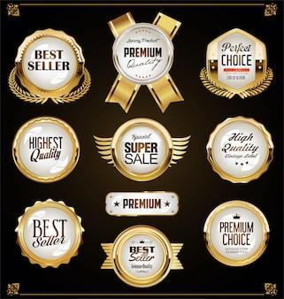 Super wyprzedaż złote retro odznaki i etykiety kolekcja