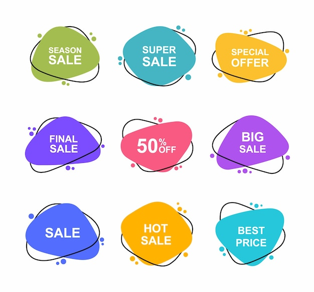 Super zestaw różnych kształtów ręcznie rysowane banery. tagi sprzedaży ustawiają odznaki szablon 0, 2, 0, 35, 5, 50, 0, 5, 5 procent zniżki. promocja rabatowa.