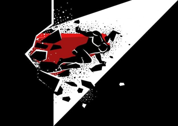 Superbohater przedziera się przez betonową ścianę