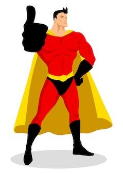Superbohater robi kciuki do góry