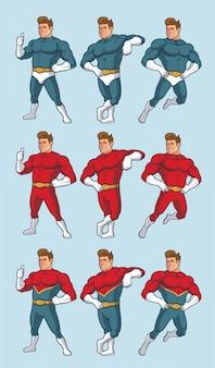 Superbohater w różnych pozach i alternatywnych kostiumach