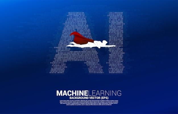Superbohater z ai od jednego i zerowego stylu matrycy kodu binarnego. koncepcja uczenia maszynowego i technologii sztucznej inteligencji