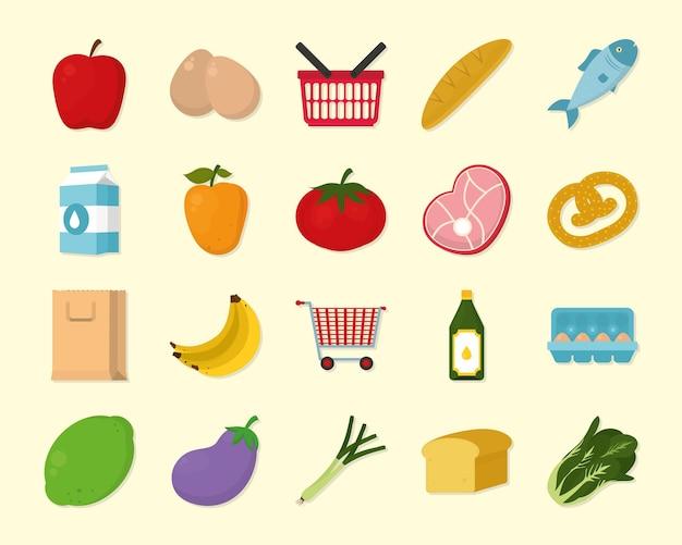 Supermarket artykuły spożywcze zestaw ikon