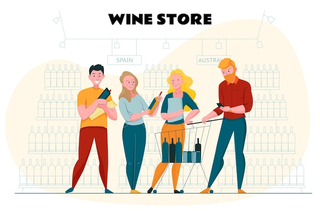 Supermarket i plakat do krojenia z płaskimi symbolami sklepu z winami