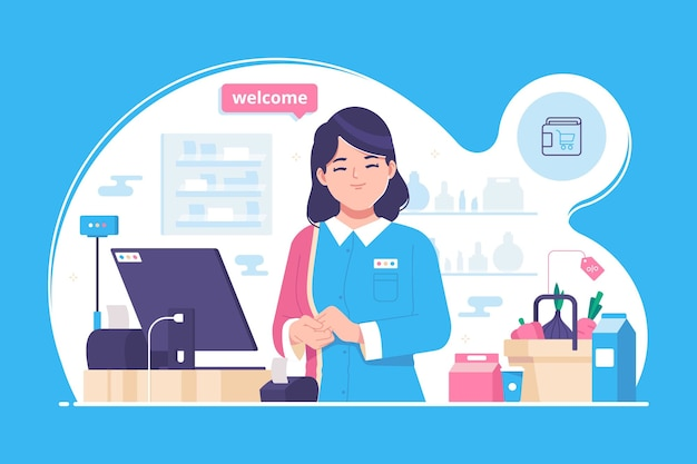 Supermarket kasjer ilustracja koncepcja tło