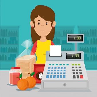 Supermarket kobieta charakter sprzedawcy