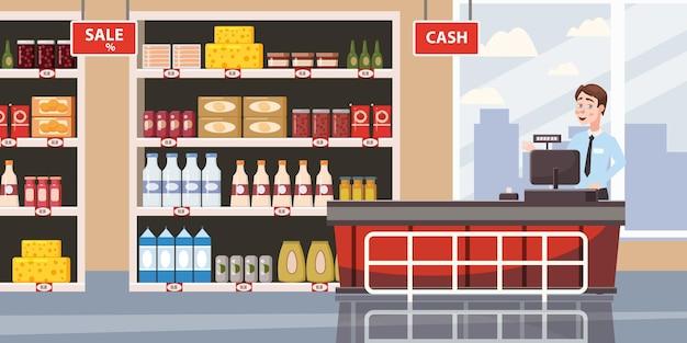 Supermarket lub wnętrze sklepu z półkami i towarami spożywczymi kasa i kasjer duże centrum handlowe