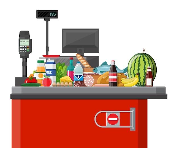 Supermarket sklep i detaliczna ilustracja artykułów spożywczych