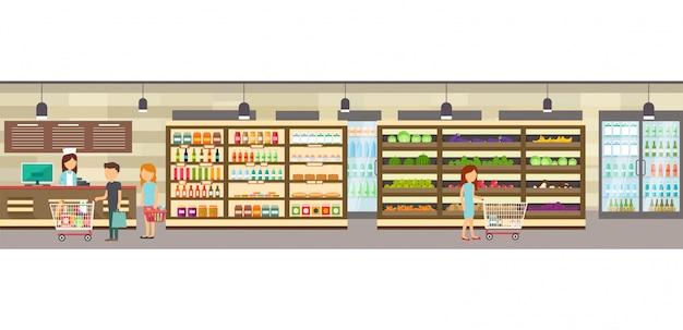 Supermarket sklep z towarami.