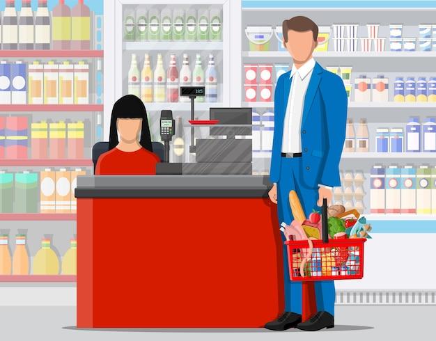Supermarket wnętrze sklepu z towarami. duże centrum handlowe. wnętrze sklepu w środku. kasa, sklep spożywczy, napoje, żywność, owoce, produkty mleczne. ilustracja wektorowa w stylu płaski