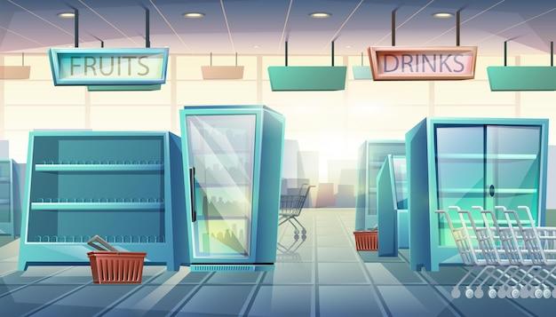 Supermarket z automatami, półkami z jedzeniem i napojami, wózkiem na zakupy i koszem.