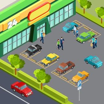 Supermarket z parkingiem samochodowym