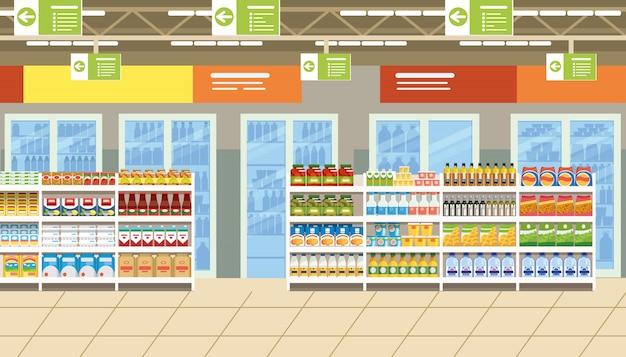 Supermarketa wnętrze z jedzeniem na półkach wektorowych