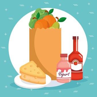 Supermarkety spożywcze ustawić ikony