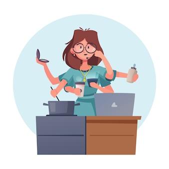Supermoma i pracownica postać kobiety wielozadaniowość bizneswoman sprzątanie, gotowanie, picie kawy, opieka nad dzieckiem
