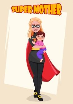 Supermother. kartkę z życzeniami na dzień matki
