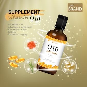 Suplement diety i suplementy witaminowe w postaci kapsułki z lekiem w kolorze złotym tle