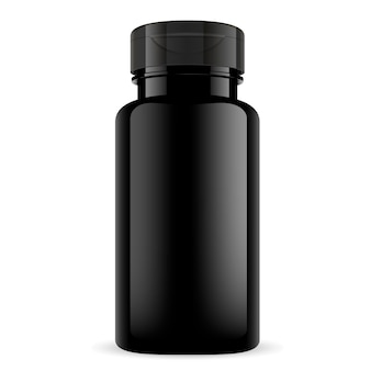 Suplement sportowy butelka witaminy. błyszczące opakowanie