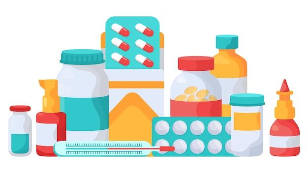 Suplementy do leków. tabletki lekarskie, blistry z witaminami, butelki na pigułki lekarskie, ilustracja farmaceutycznych środków przeciwbólowych. zestaw leków wspomagających witaminę i kapsułkę medyczną
