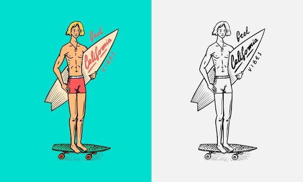 Surfer jeździ na falach na desce letni znak surfowania karta kalifornii rocznika mężczyzna na desce surfingowej