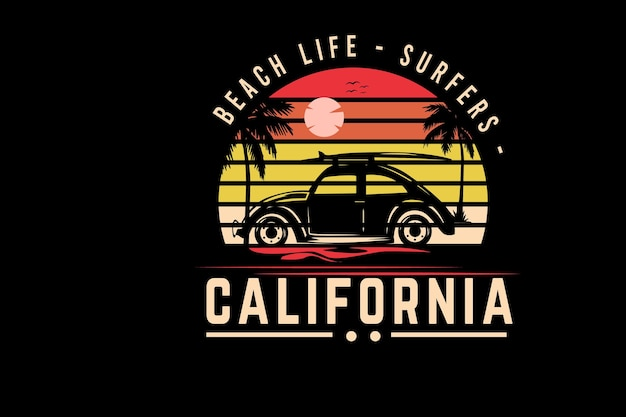 Surferzy na plaży w kalifornii w kolorze pomarańczowym i żółtym