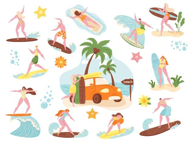 Surferzy, plażowicze surfują zestaw ilustracji, kreskówka aktywny mężczyzna kobieta postać pływanie, surfowanie na desce surfingowej w ikonach fal morskich