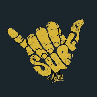 Surfing hand sign aloha print