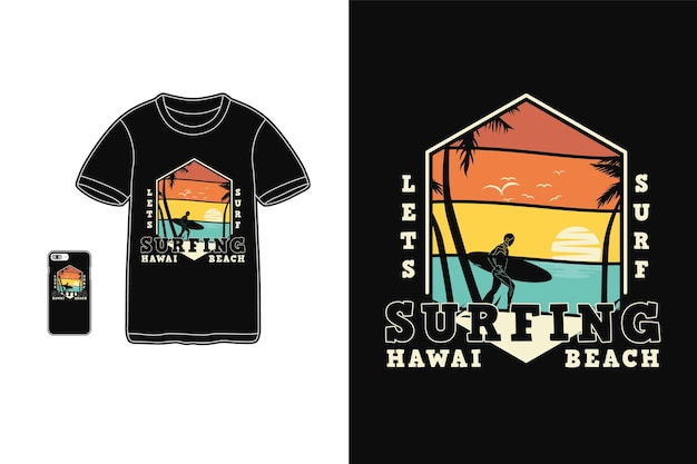 Surfing hawaii beach t shirt design sylwetka w stylu retro