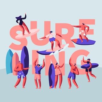 Surfing ilustracja koncepcja sportu powierzchni wody