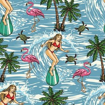 Surfing kolorowy wzór z palmami, różowym flamingiem, żółwiem i atrakcyjną kobietą jadącą falą na tle morza