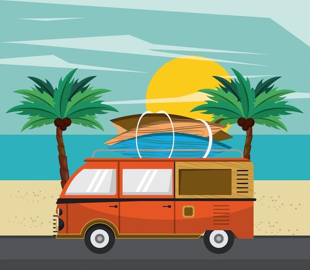Surfing kreskówka van