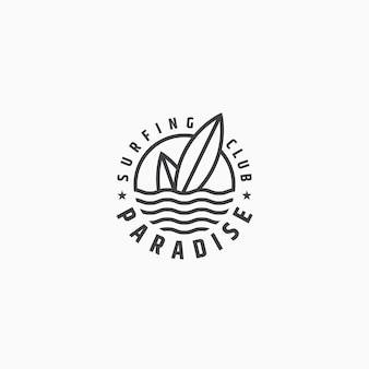 Surfing logo ikona szablon projektu płaskie wektor ilustracja