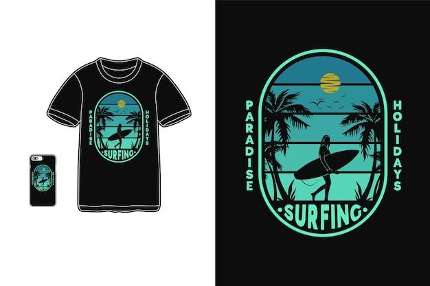 Surfing raj wakacje t shirt design sylwetka w stylu retro