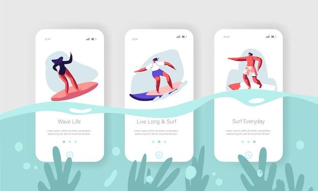 Surfing sport, rekreacja. zestaw ekranu pokładowego strony aplikacji mobilnej
