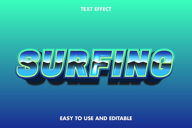 Surfing text effect, edytowalny tekst.