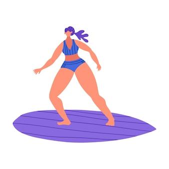 Surfingi młodzi śliczni śmieszni ludzie. kobiety w strojach kąpielowych z deskami surfingowymi w różnych pozach i ubraniach.