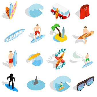 Surfingowi isons ustawiający w isometric 3d stylu odizolowywającym na białym tle