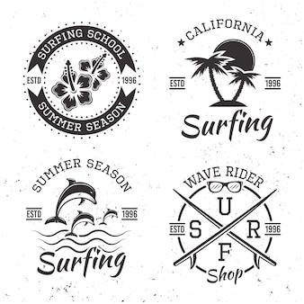 Surfingowy zestaw czterech czarnych emblematów