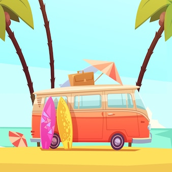 Surfowanie i autobus retro ilustracja kreskówka