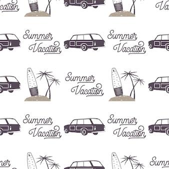 Surfowanie w starym stylu wzór samochodu. letnia bezszwowa tapeta z surferem, deskami surfingowymi, palmami. monochromatyczny samochód kombi. ilustracja wektorowa. używaj do drukowania tkanin, projektów internetowych, t-shirtów.
