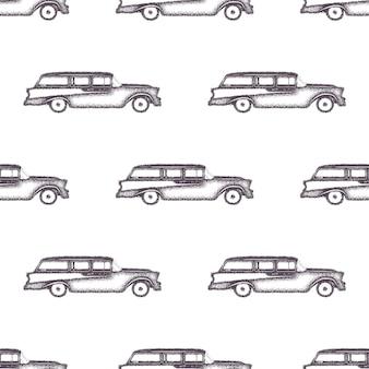 Surfowanie w starym stylu wzór samochodu. letnia bezszwowa tapeta z surferem vanem. monochromatyczny projekt samochodu kombi. ilustracja wektorowa. używaj do drukowania tkanin, projektów internetowych, t-shirtów lub projektów koszulek.