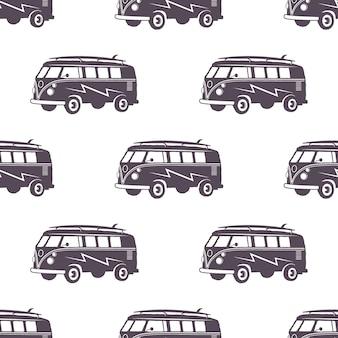 Surfowanie w starym stylu wzór samochodu. letnia bezszwowa tapeta z surferem vanem. monochromatyczny samochód kombi. ilustracja wektorowa. używaj do drukowania tkanin, projektów internetowych, t-shirtów lub projektów koszulek.