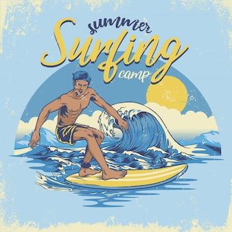 Surfowanie w stylu vintage z wyciągniętą ręką