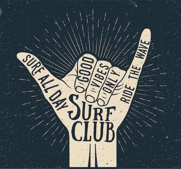 Surfuj shaka dłoń ruch ręka sylwetka na ciemnym tle. czas letni surfowanie w stylu vintage ilustracji w stylu