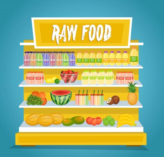 Surowe wegetariańskie jedzenie wektor koncepcja w płaska konstrukcja